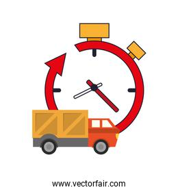clock with arrow and truck van  icon