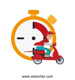 chronometer and scooter  icon