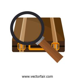 suitcase and  magnifying glass icon