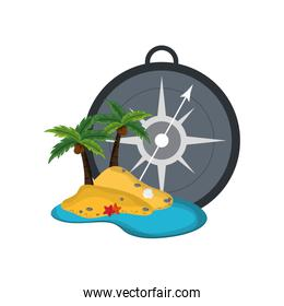 compass and tropical island icon