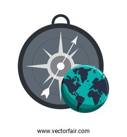 compass and earth globe  icon