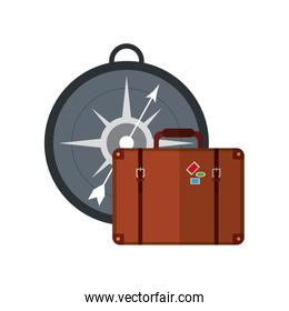 compass and suitcase icon
