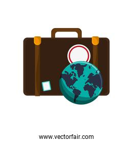 suitcase and   earth globeicon
