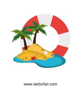 life preserver and tropical island icon