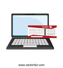 laptop and boarding pass icon