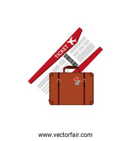 boarding pass and suitcase  icon