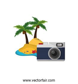 tropical island with camera icon