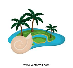 tropical island and conch icon