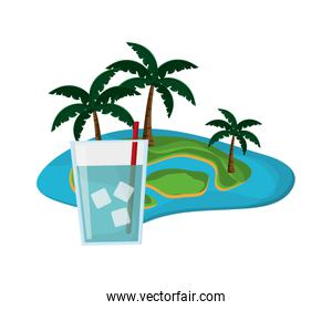 tropical island and glass of water icon
