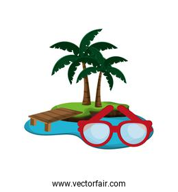 tropical island and glasses  icon