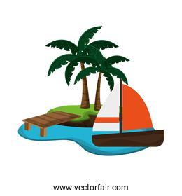 tropical island and sail boat icon