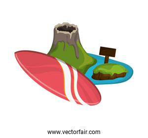 tropical island and surfboard icon