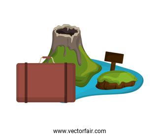 tropical island and suitcase  icon