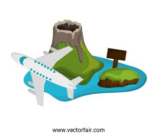 tropical island and airplane  icon
