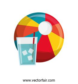 beach ball and glass of water icon
