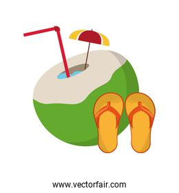 coconut cocktail and sandals icon