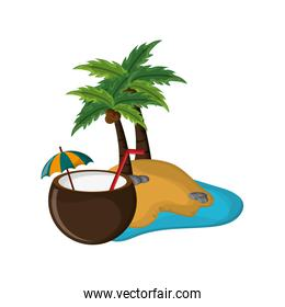 tropical island and coconut cocktail icon