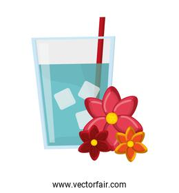 glass of water and flowers icon