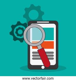 modern cellphone and magnifying glass search icon