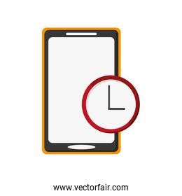 modern cellphone and clock icon