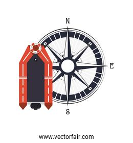lifeboat and compass icon