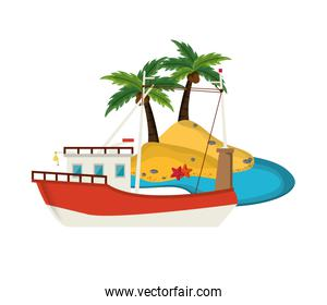 tropical island and boat or ship icon
