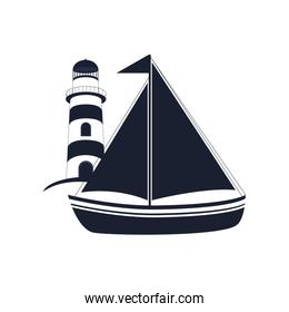 sail boat and lighthouse icon