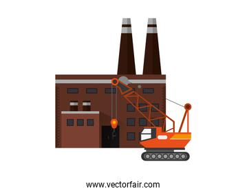 factory and mobile crane icon