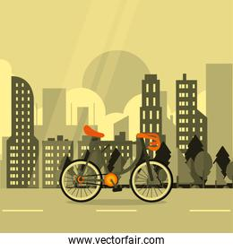 bike with city background image