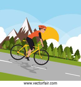cyclist with mountain background image