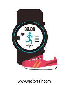 heart rate wrist monitor and sneaker icon