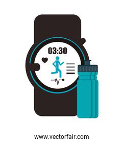 heart rate wrist monitor and  sports bottle icon