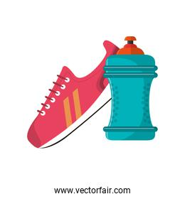 sneaker and  sports bottle icon
