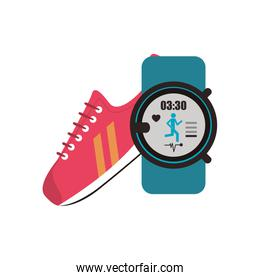 sneaker and  heart rate wrist monitor  icon