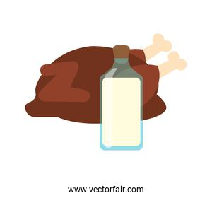 whole chicken and  milk bottle  icon