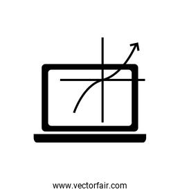 computer and graph chart icon