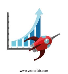 graph chart and rocket icon