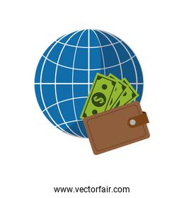 earth globe diagram and wallet icon