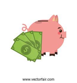 piggy bank and dollars