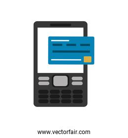 cellphone and credit card  over white