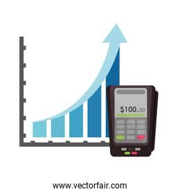 graph chart and dataphone icon