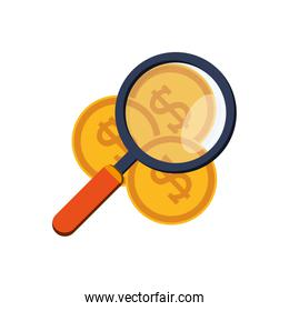money coins and magnifying glass icon