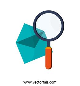 message envelope and magnifying glass icon