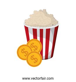 popcorn and coins icon