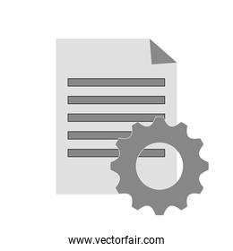 paper document and gear icon