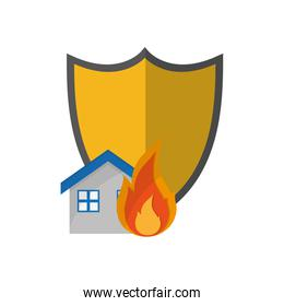 shield and house on fire icon