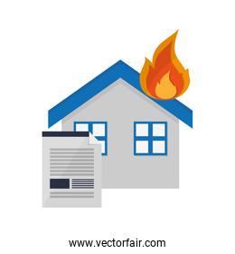 house on fire and contract icon