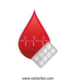 blood drop cardiogram and medicine tablets icon