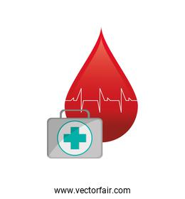 blood drop cardiogram and first aid kit  icon