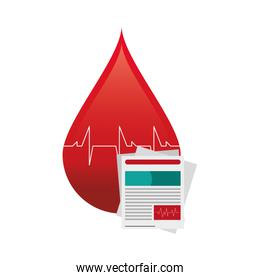 blood drop cardiogram and medical history icon